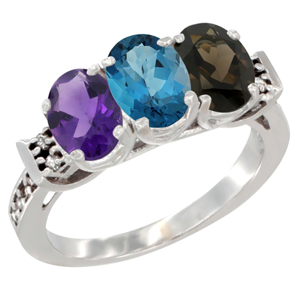 10K White Gold Natural Amethyst, London Blue Topaz & Smoky Topaz Ring 3-Stone Oval 7x5 mm Diamond Accent, sizes 5 - 10