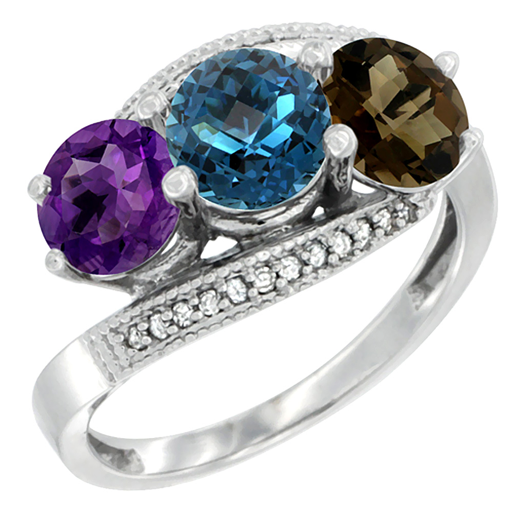 14K White Gold Natural Amethyst, London Blue & Smoky Topaz 3 stone Ring Round 6mm Diamond Accent, sizes 5 - 10