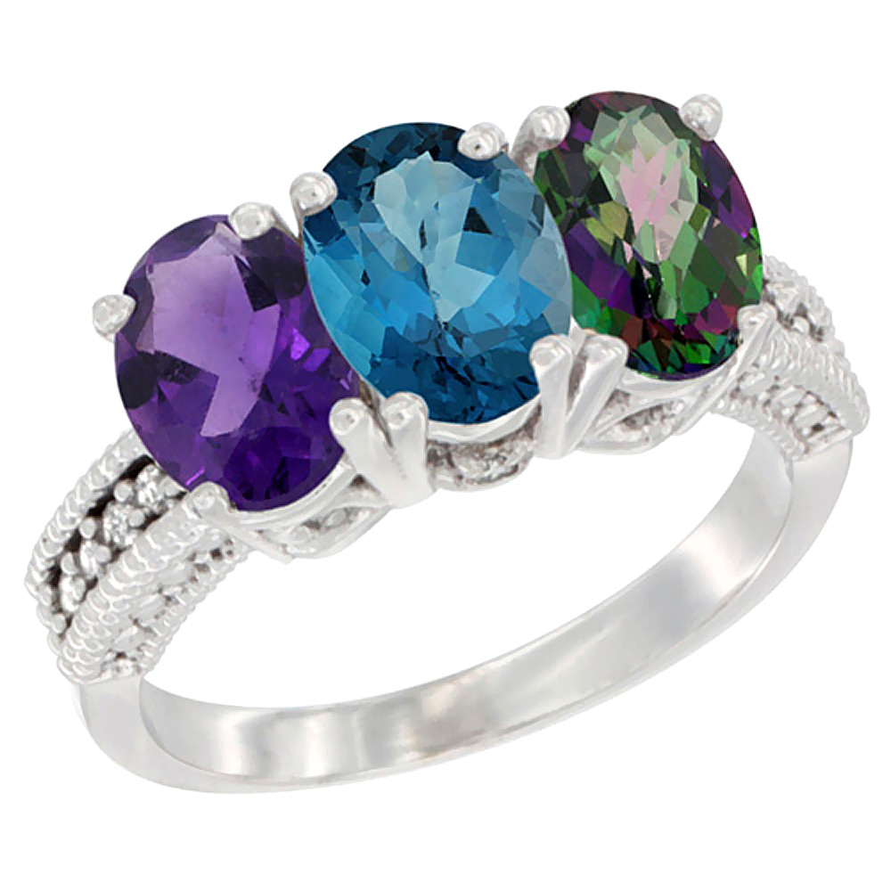 10K White Gold Natural Amethyst, London Blue Topaz & Mystic Topaz Ring 3-Stone Oval 7x5 mm Diamond Accent, sizes 5 - 10