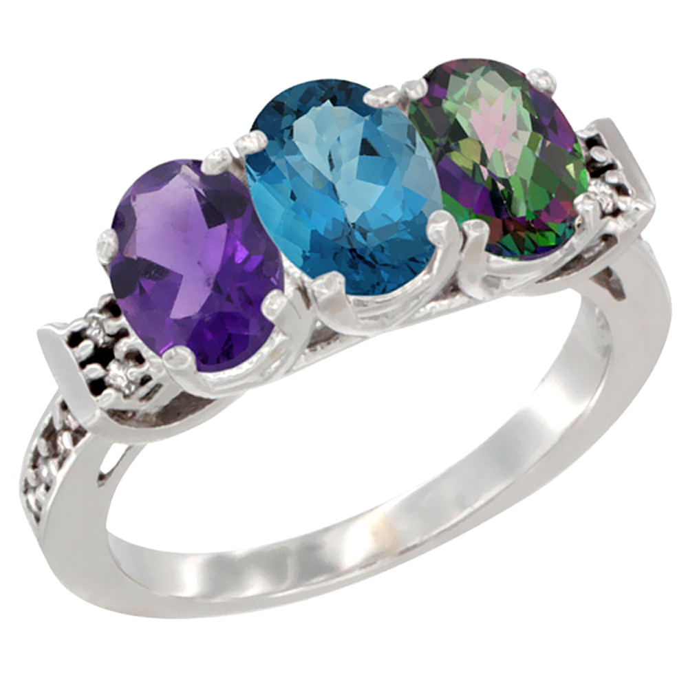 14K White Gold Natural Amethyst, London Blue Topaz & Mystic Topaz Ring 3-Stone 7x5 mm Oval Diamond Accent, sizes 5 - 10