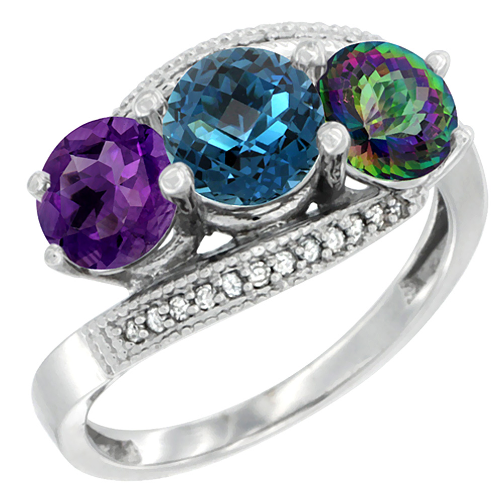14K White Gold Natural Amethyst, London Blue & Mystic Topaz 3 stone Ring Round 6mm Diamond Accent, sizes 5 - 10