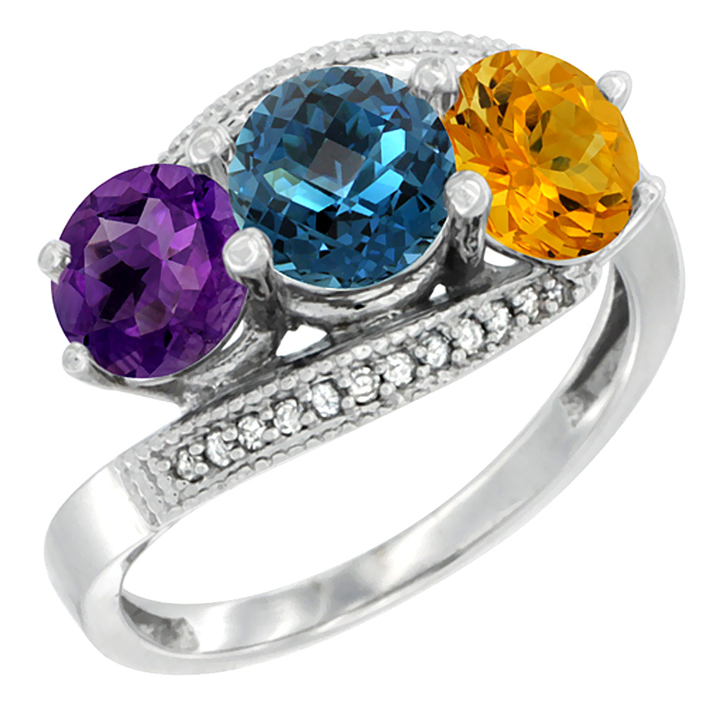 10K White Gold Natural Amethyst, London Blue Topaz & Citrine 3 stone Ring Round 6mm Diamond Accent, sizes 5 - 10