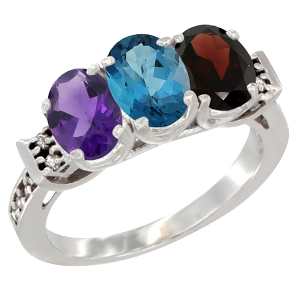 10K White Gold Natural Amethyst, London Blue Topaz & Garnet Ring 3-Stone Oval 7x5 mm Diamond Accent, sizes 5 - 10