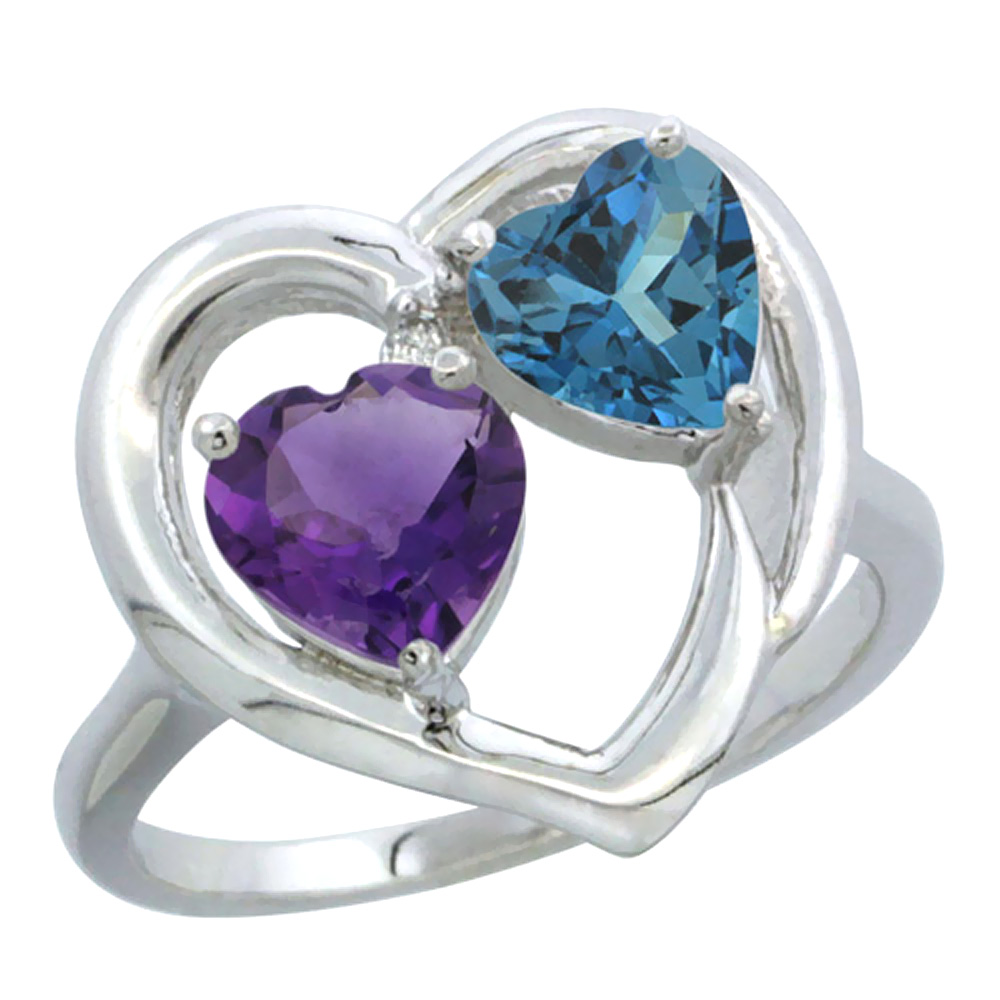 14K White Gold Diamond Two-stone Heart Ring 6mm Natural Amethyst & London Blue Topaz, sizes 5-10