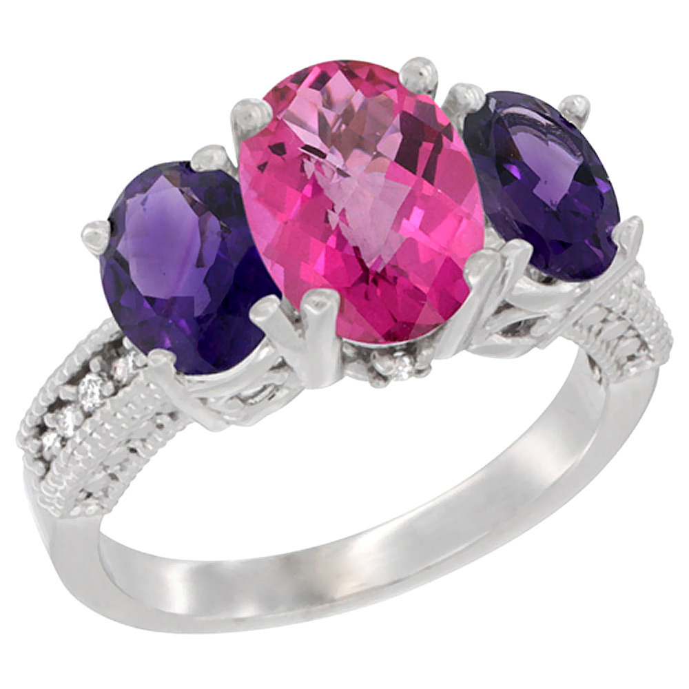 10K White Gold Natural Pink Topaz Ring Ladies 3-Stone 8x6 Oval with Amethyst Sides Diamond Accent, sizes 5 - 10