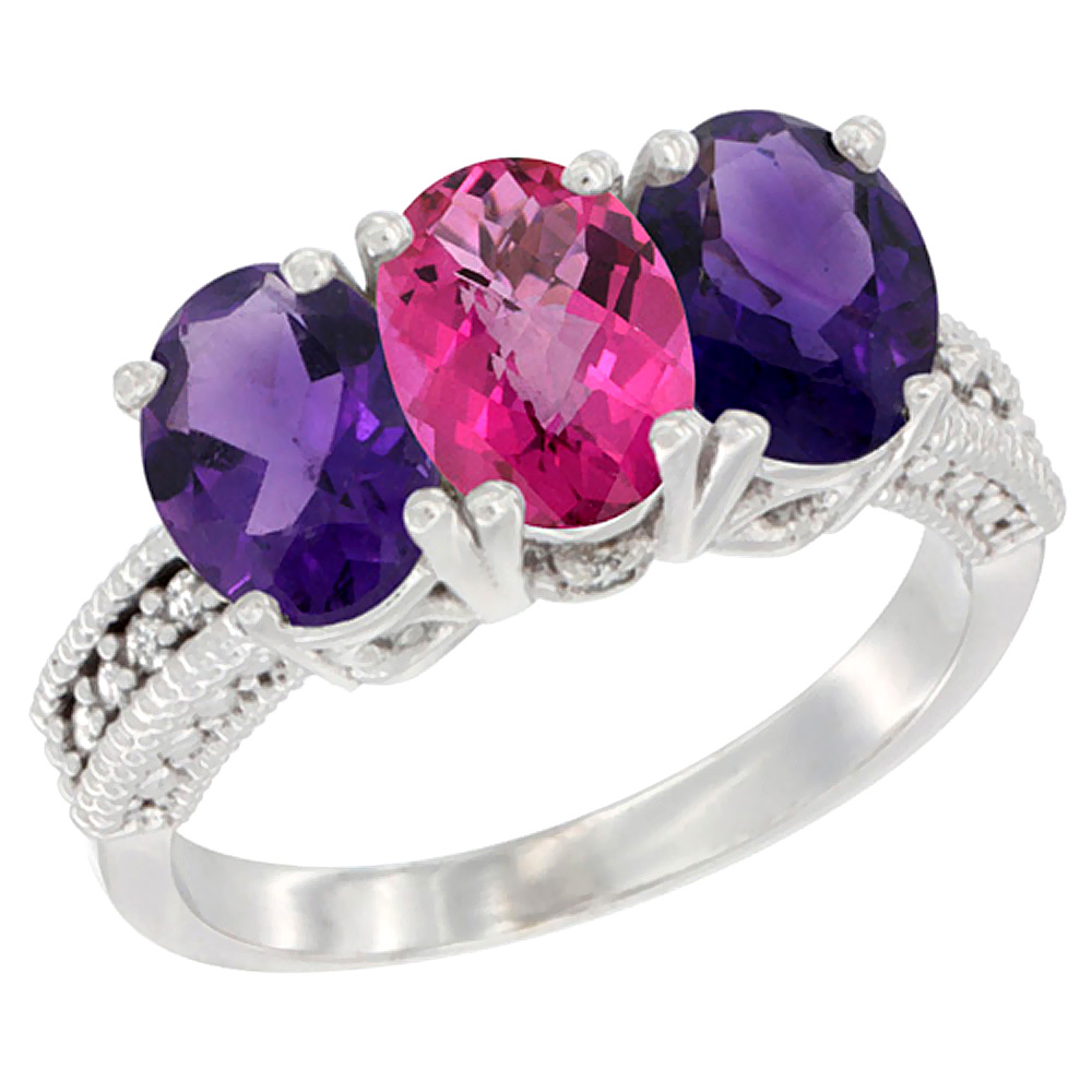 10K White Gold Natural Pink Topaz & Amethyst Sides Ring 3-Stone Oval 7x5 mm Diamond Accent, sizes 5 - 10