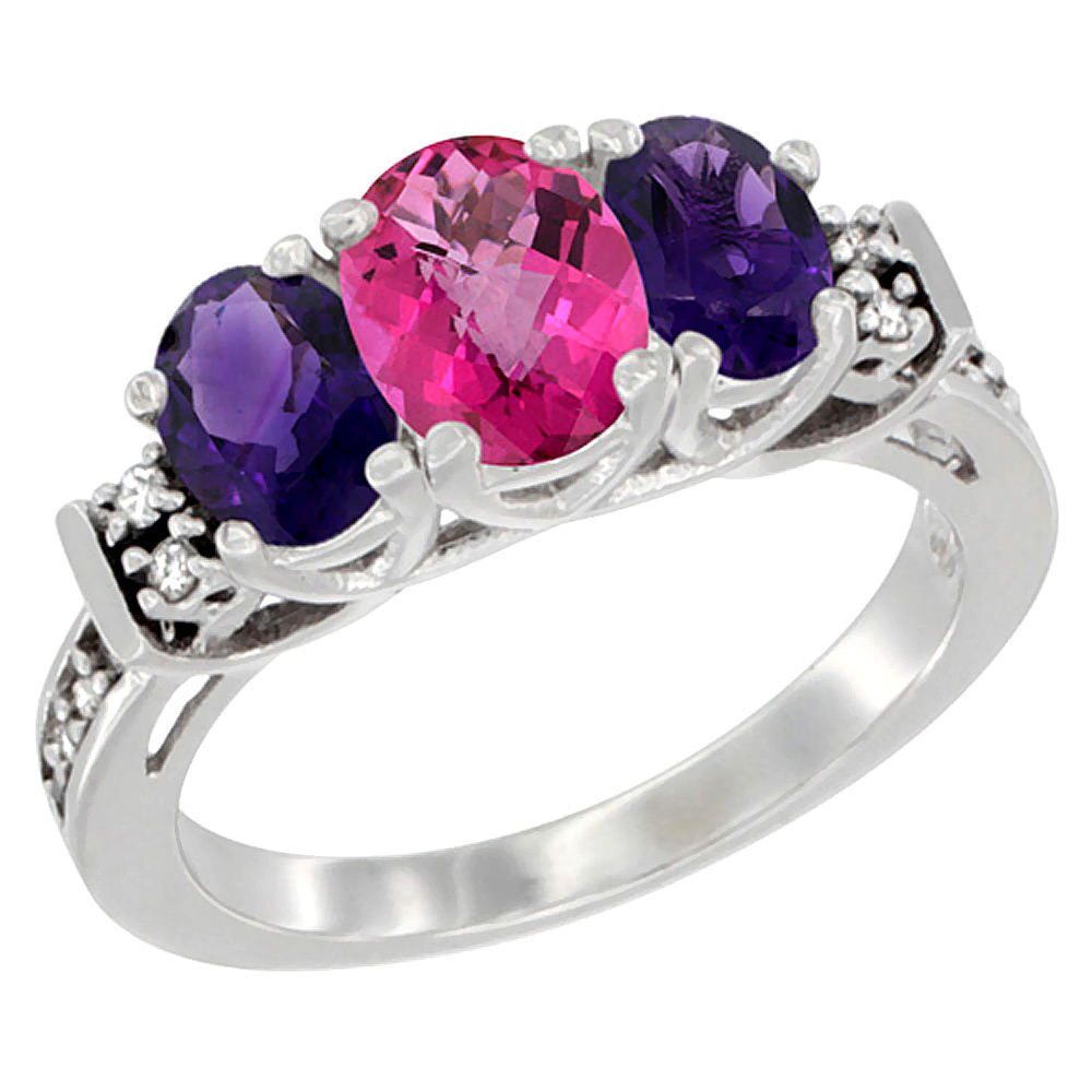 14K White Gold Natural Pink Topaz & Amethyst Ring 3-Stone Oval Diamond Accent, sizes 5-10