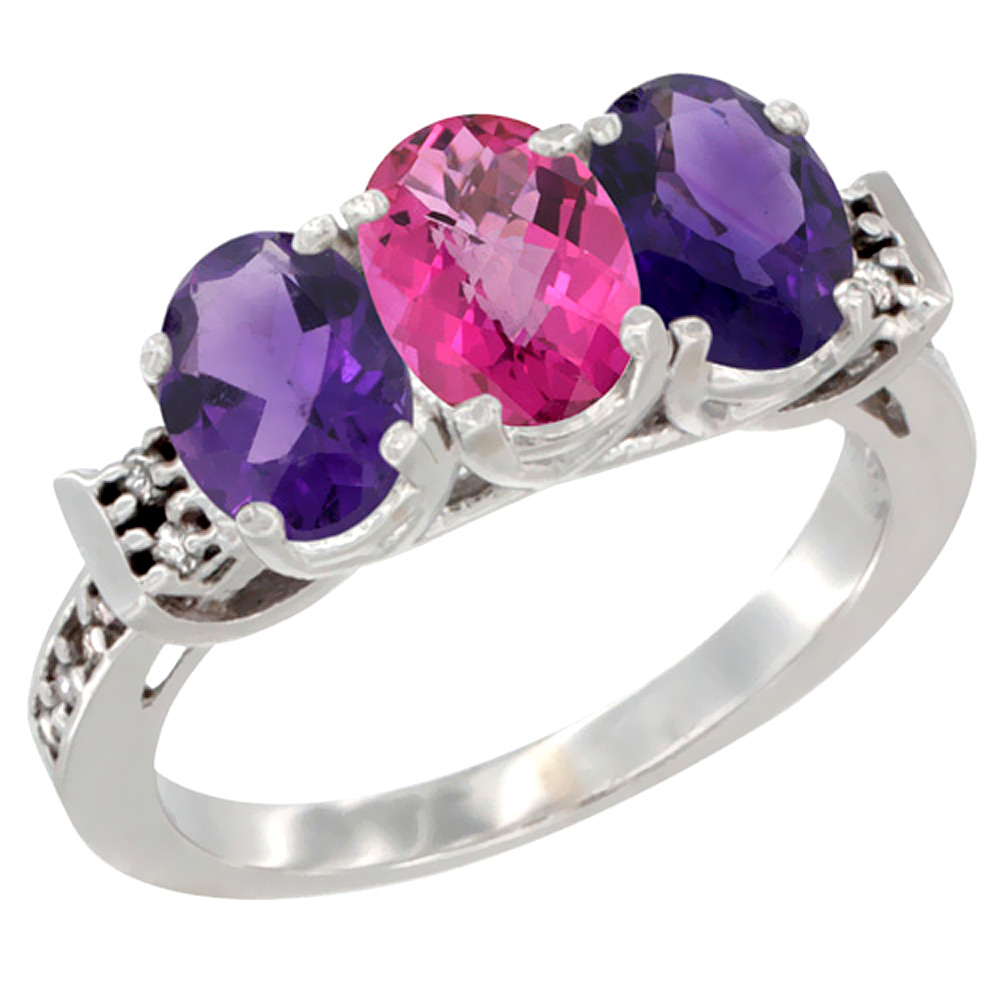 14K White Gold Natural Pink Topaz & Amethyst Sides Ring 3-Stone 7x5 mm Oval Diamond Accent, sizes 5 - 10
