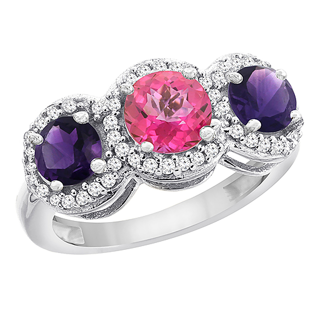 14K White Gold Natural Pink Topaz & Amethyst Sides Round 3-stone Ring Diamond Accents, sizes 5 - 10