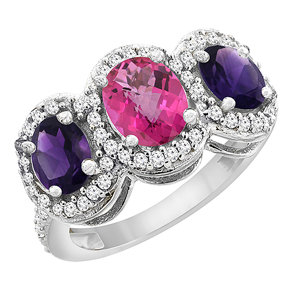 14K White Gold Natural Pink Topaz & Amethyst 3-Stone Ring Oval Diamond Accent, sizes 5 - 10
