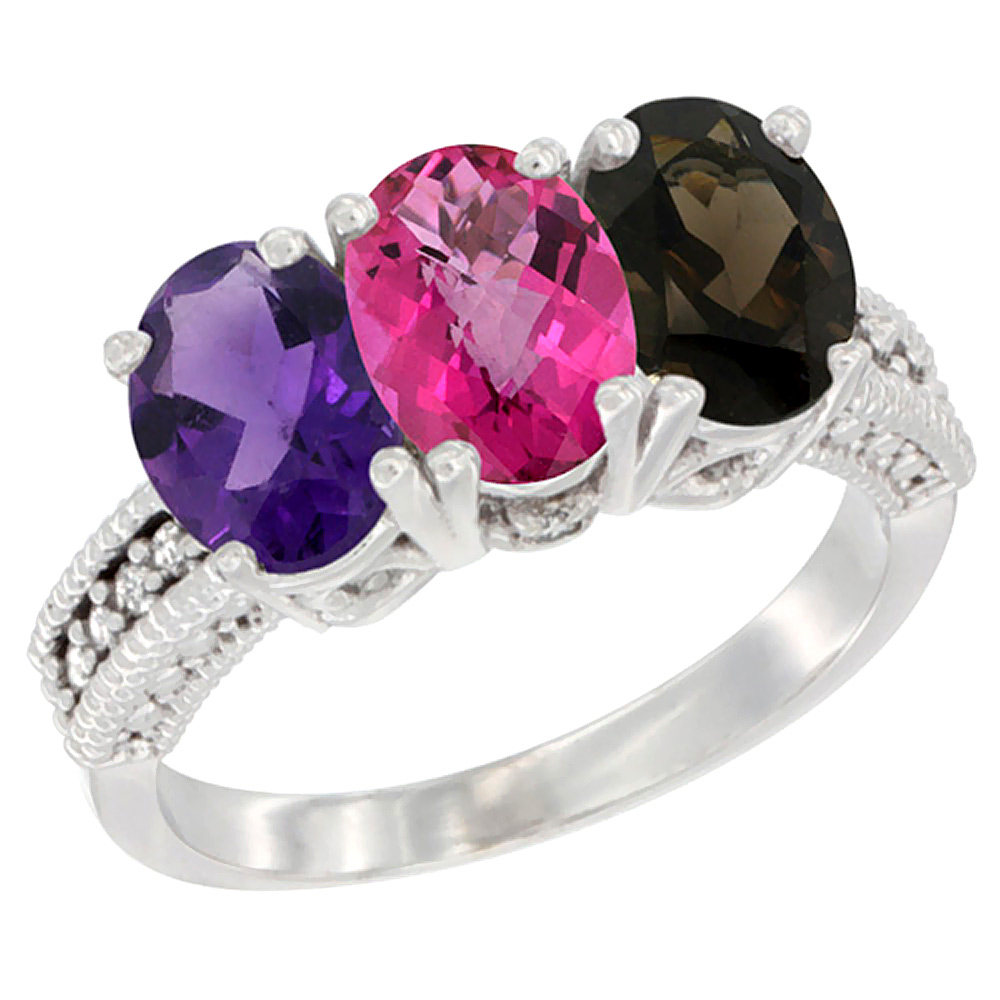 10K White Gold Natural Amethyst, Pink Topaz & Smoky Topaz Ring 3-Stone Oval 7x5 mm Diamond Accent, sizes 5 - 10