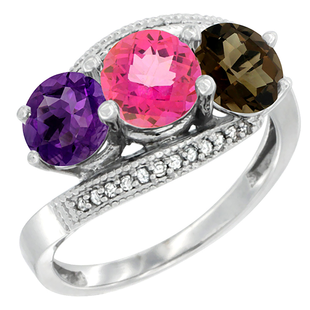 14K White Gold Natural Amethyst, Pink & Smoky Topaz 3 stone Ring Round 6mm Diamond Accent, sizes 5 - 10