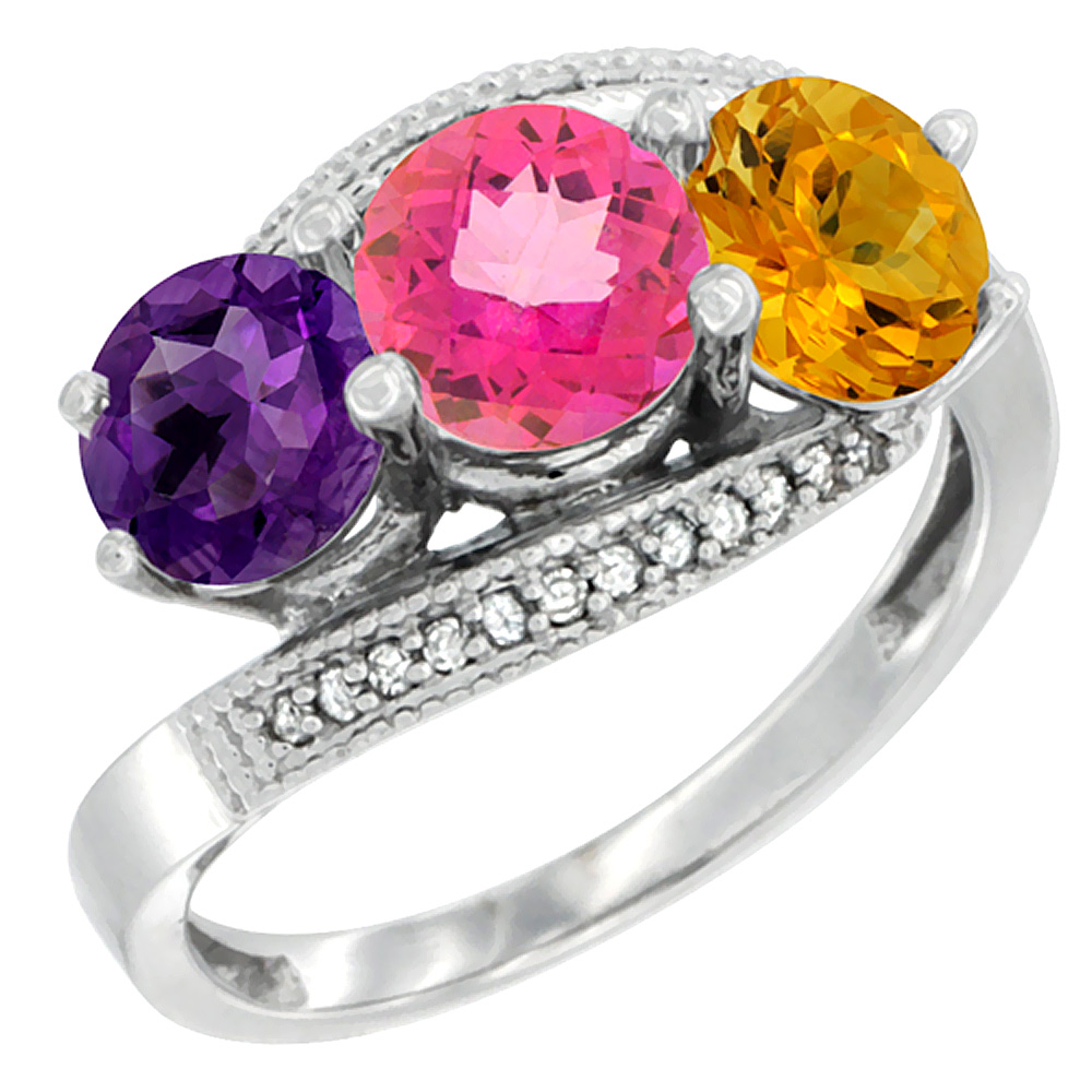 10K White Gold Natural Amethyst, Pink Topaz & Citrine 3 stone Ring Round 6mm Diamond Accent, sizes 5 - 10