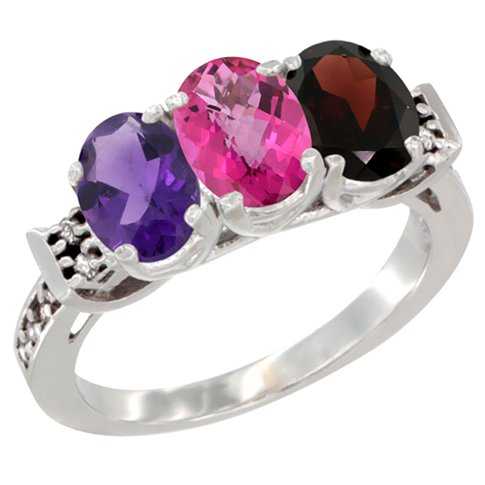14K White Gold Natural Amethyst, Pink Topaz & Garnet Ring 3-Stone 7x5 mm Oval Diamond Accent, sizes 5 - 10