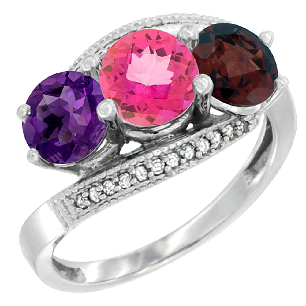 10K White Gold Natural Amethyst, Pink Topaz & Garnet 3 stone Ring Round 6mm Diamond Accent, sizes 5 - 10