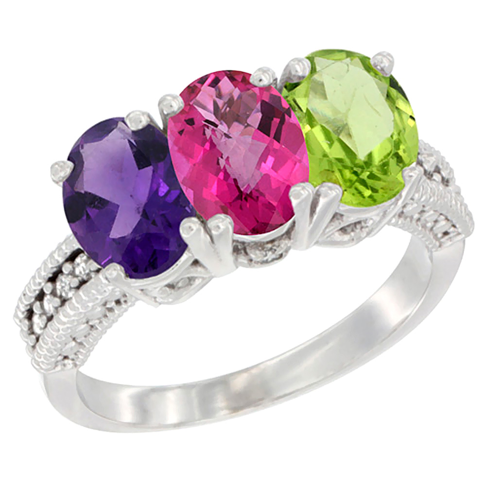 14K White Gold Natural Amethyst, Pink Topaz & Peridot Ring 3-Stone 7x5 mm Oval Diamond Accent, sizes 5 - 10