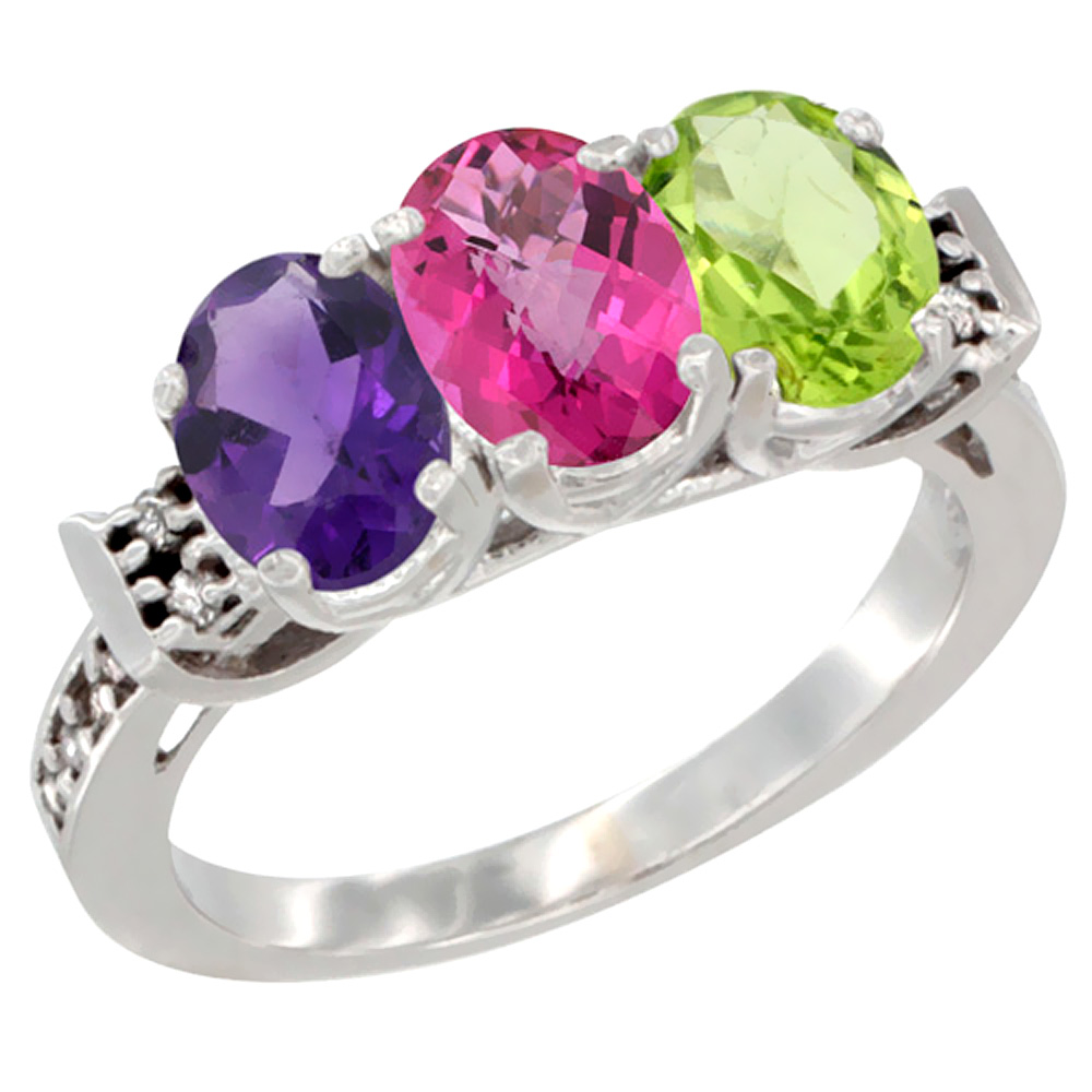 10K White Gold Natural Amethyst, Pink Topaz & Peridot Ring 3-Stone Oval 7x5 mm Diamond Accent, sizes 5 - 10