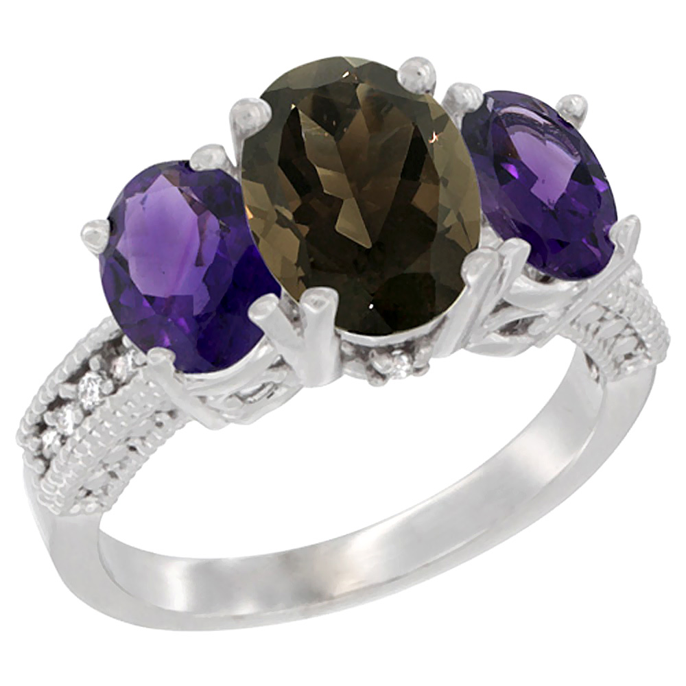 14K White Gold Natural Smoky Topaz Ring Ladies 3-Stone 8x6 Oval with Amethyst Sides Diamond Accent, sizes 5 - 10