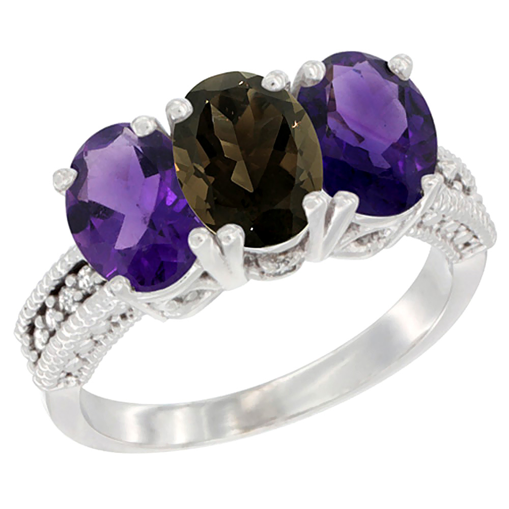 14K White Gold Natural Smoky Topaz & Amethyst Ring 3-Stone 7x5 mm Oval Diamond Accent, sizes 5 - 10