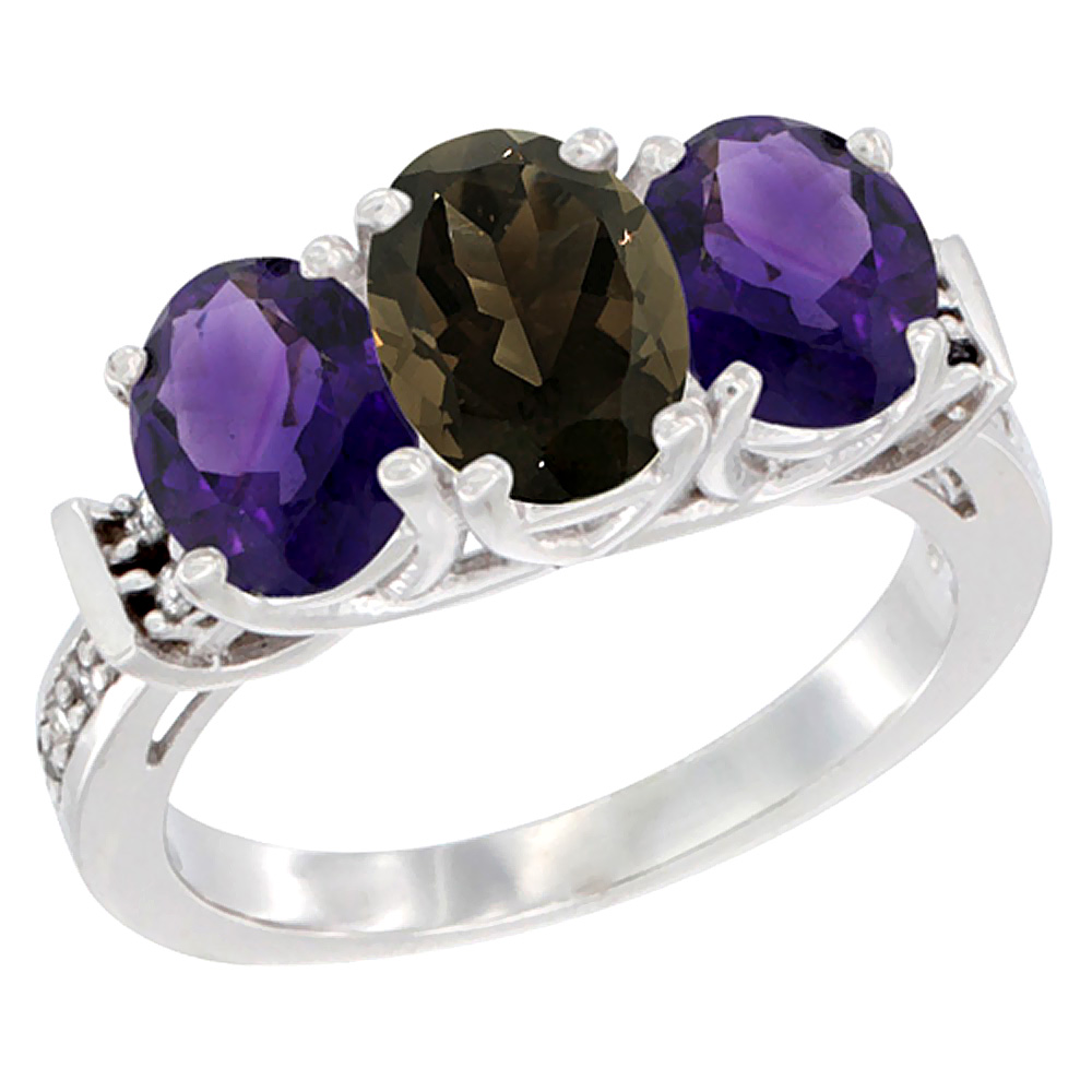 10K White Gold Natural Smoky Topaz & Amethyst Sides Ring 3-Stone Oval Diamond Accent, sizes 5 - 10
