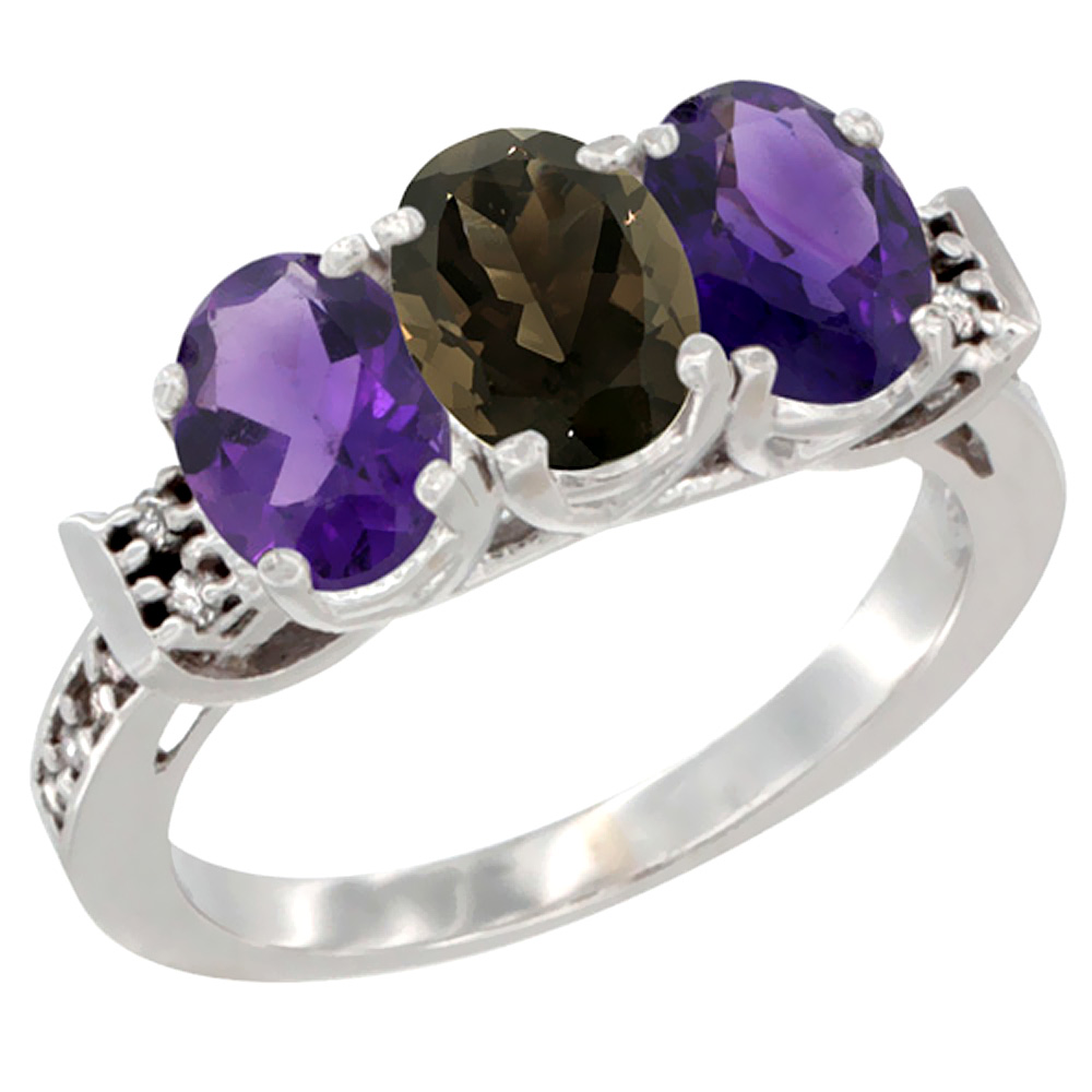 14K White Gold Natural Smoky Topaz & Amethyst Sides Ring 3-Stone 7x5 mm Oval Diamond Accent, sizes 5 - 10