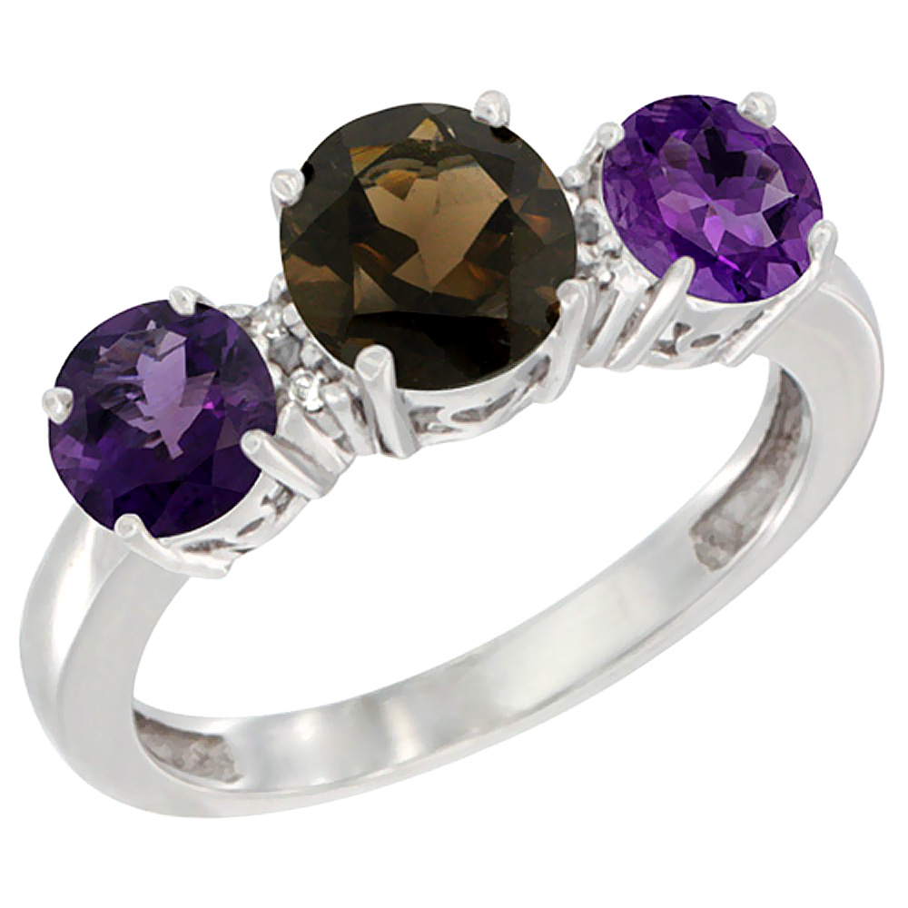 14K White Gold Round 3-Stone Natural Smoky Topaz Ring & Amethyst Sides Diamond Accent, sizes 5 - 10