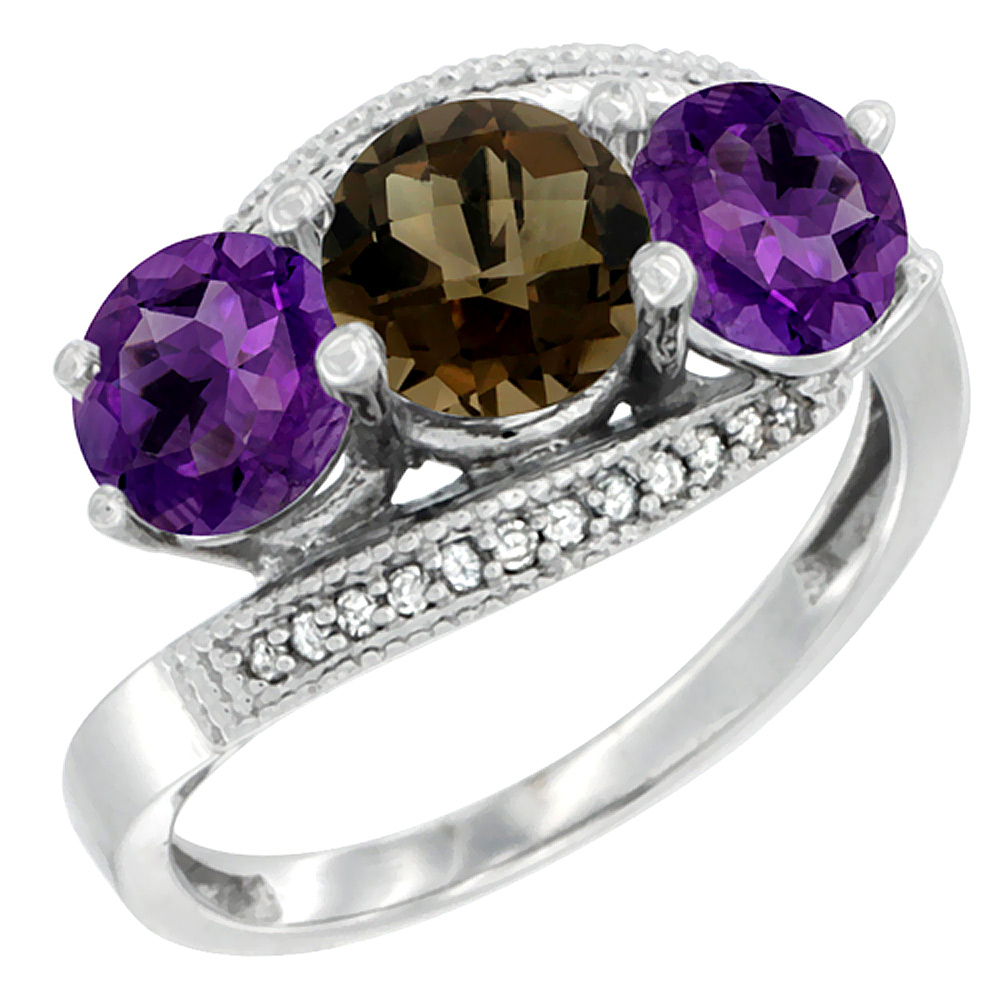 10K White Gold Natural Smoky Topaz & Amethyst Sides 3 stone Ring Round 6mm Diamond Accent, sizes 5 - 10