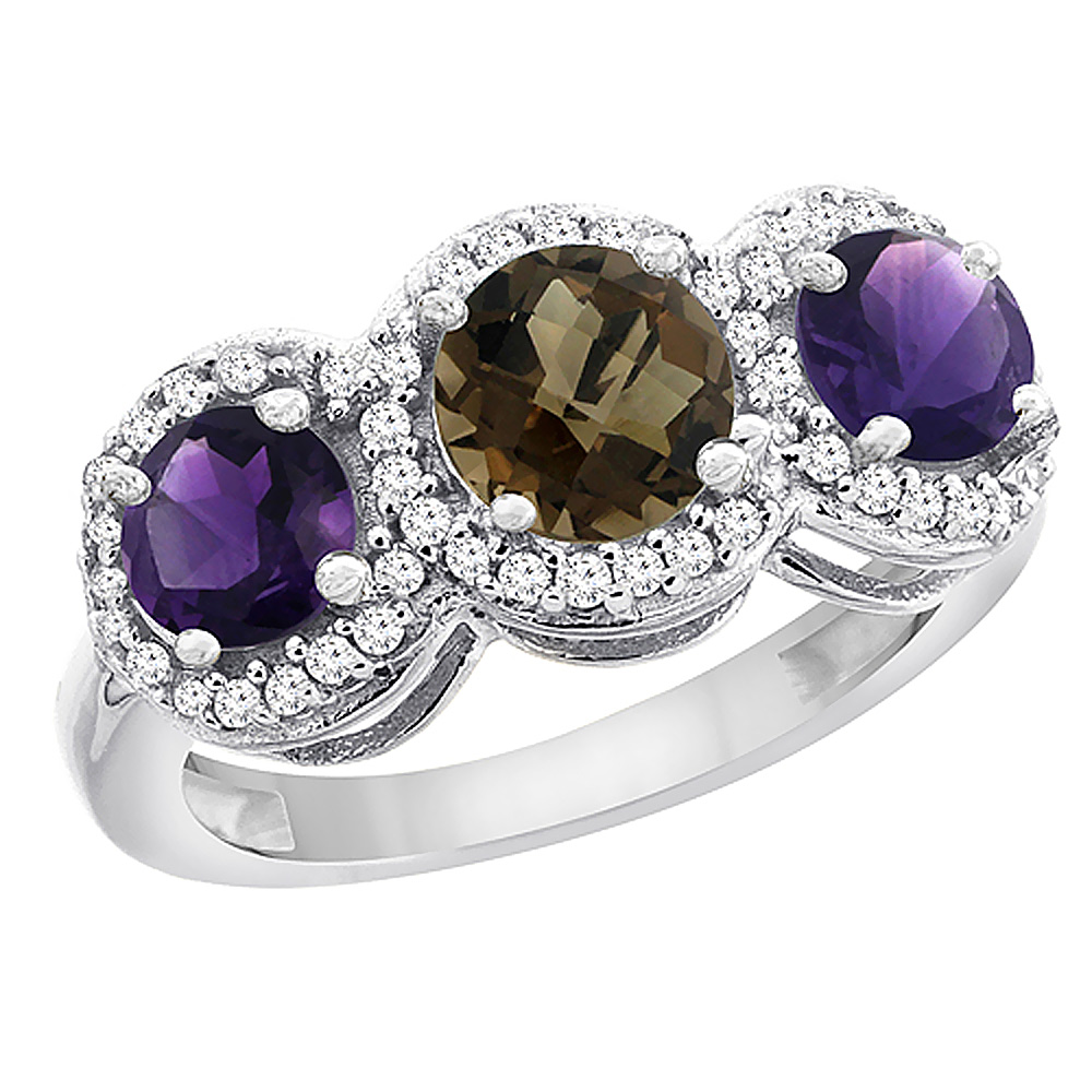 10K White Gold Natural Smoky Topaz & Amethyst Sides Round 3-stone Ring Diamond Accents, sizes 5 - 10
