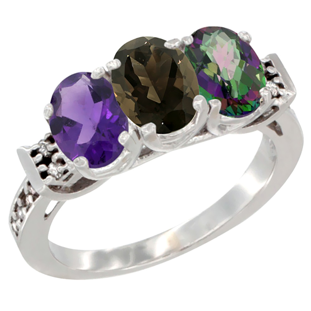 10K White Gold Natural Amethyst, Smoky Topaz & Mystic Topaz Ring 3-Stone Oval 7x5 mm Diamond Accent, sizes 5 - 10