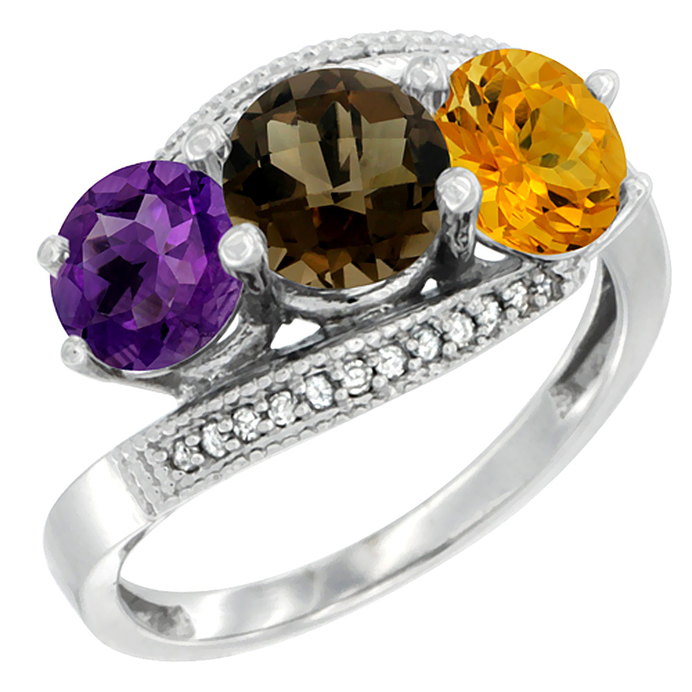 14K White Gold Natural Amethyst, Smoky Topaz & Citrine 3 stone Ring Round 6mm Diamond Accent, sizes 5 - 10