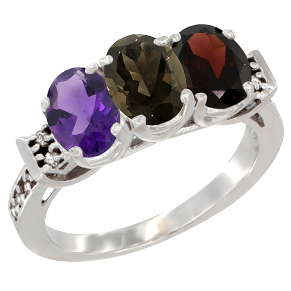 10K White Gold Natural Amethyst, Smoky Topaz & Garnet Ring 3-Stone Oval 7x5 mm Diamond Accent, sizes 5 - 10