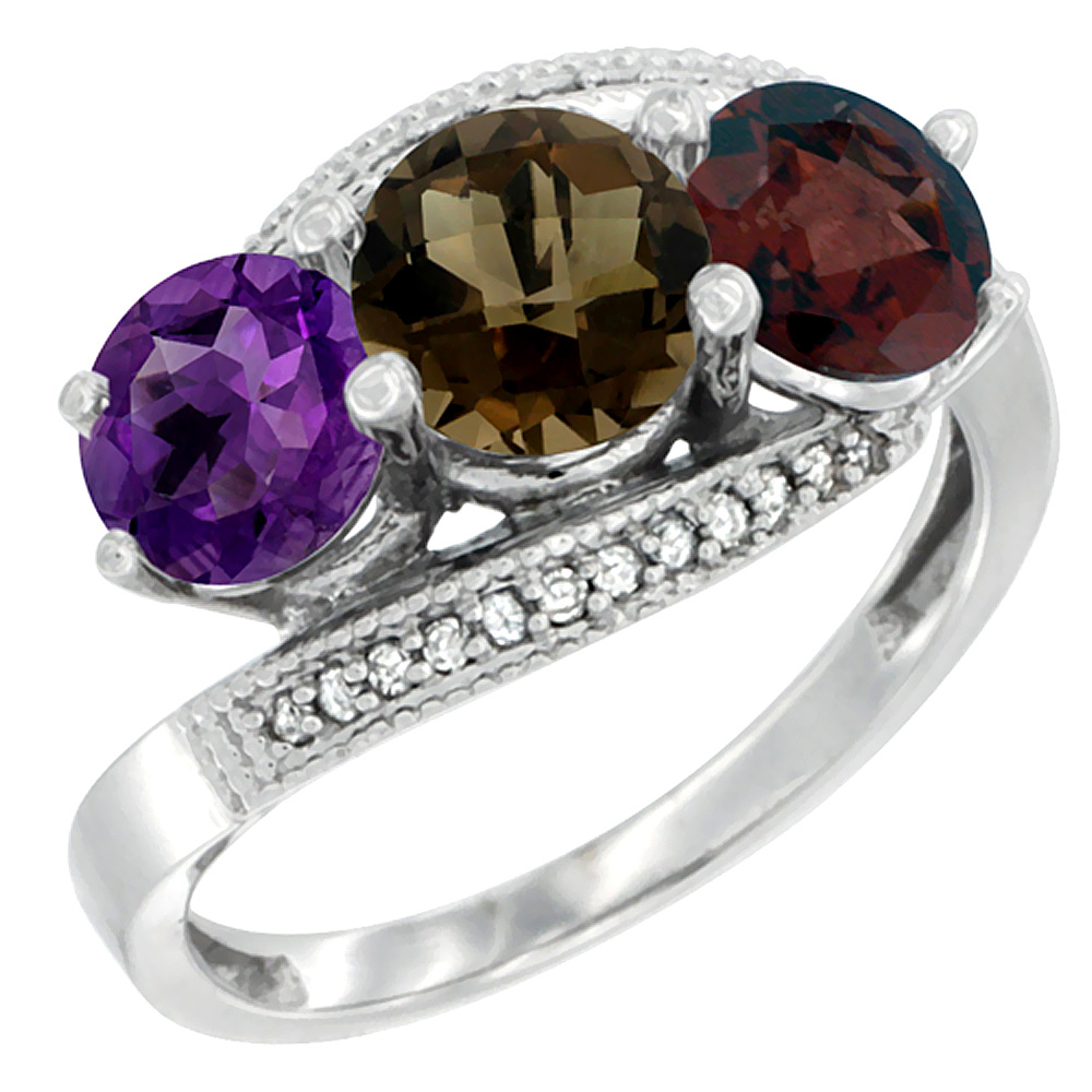 10K White Gold Natural Amethyst, Smoky Topaz & Garnet 3 stone Ring Round 6mm Diamond Accent, sizes 5 - 10