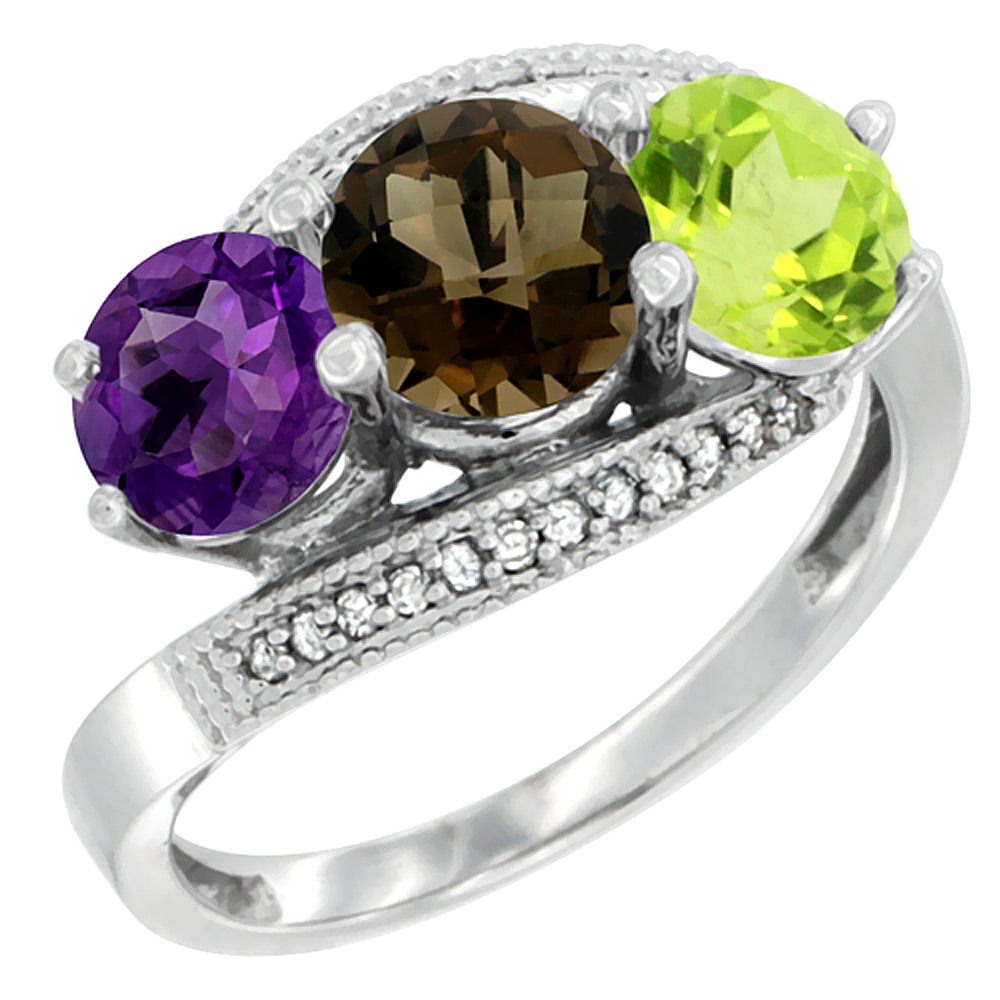 14K White Gold Natural Amethyst, Smoky Topaz & Peridot 3 stone Ring Round 6mm Diamond Accent, sizes 5 - 10