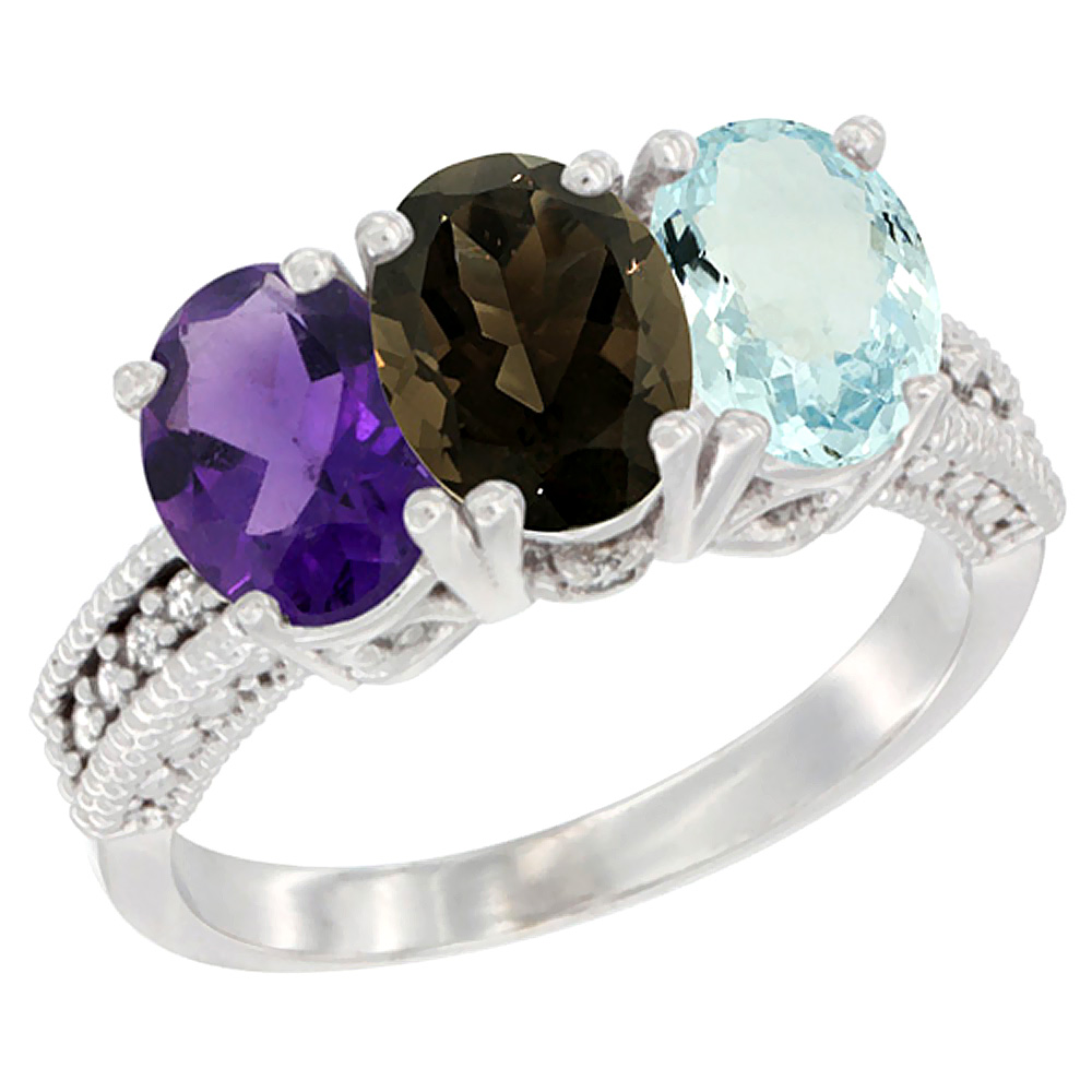 10K White Gold Natural Amethyst, Smoky Topaz & Aquamarine Ring 3-Stone Oval 7x5 mm Diamond Accent, sizes 5 - 10