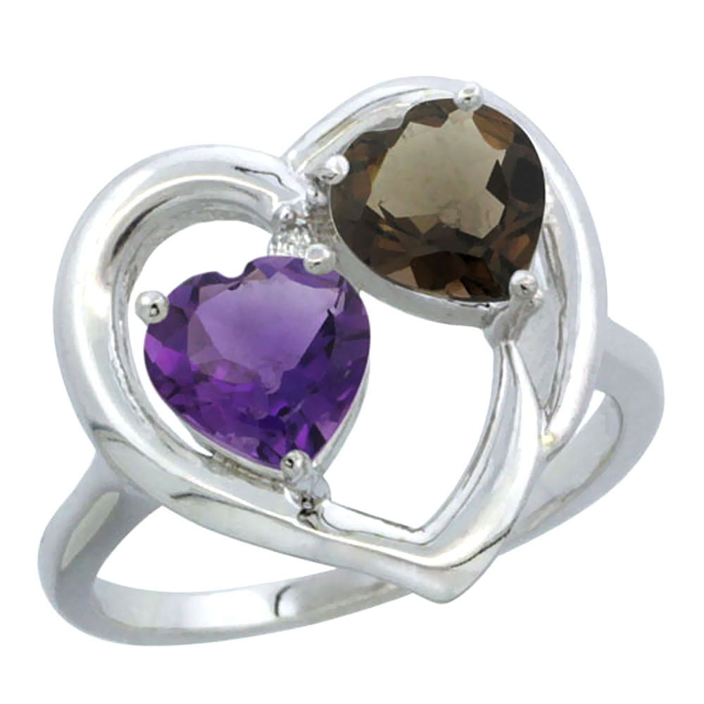 14K White Gold Diamond Two-stone Heart Ring 6mm Natural Amethyst & Smoky Topaz, sizes 5-10