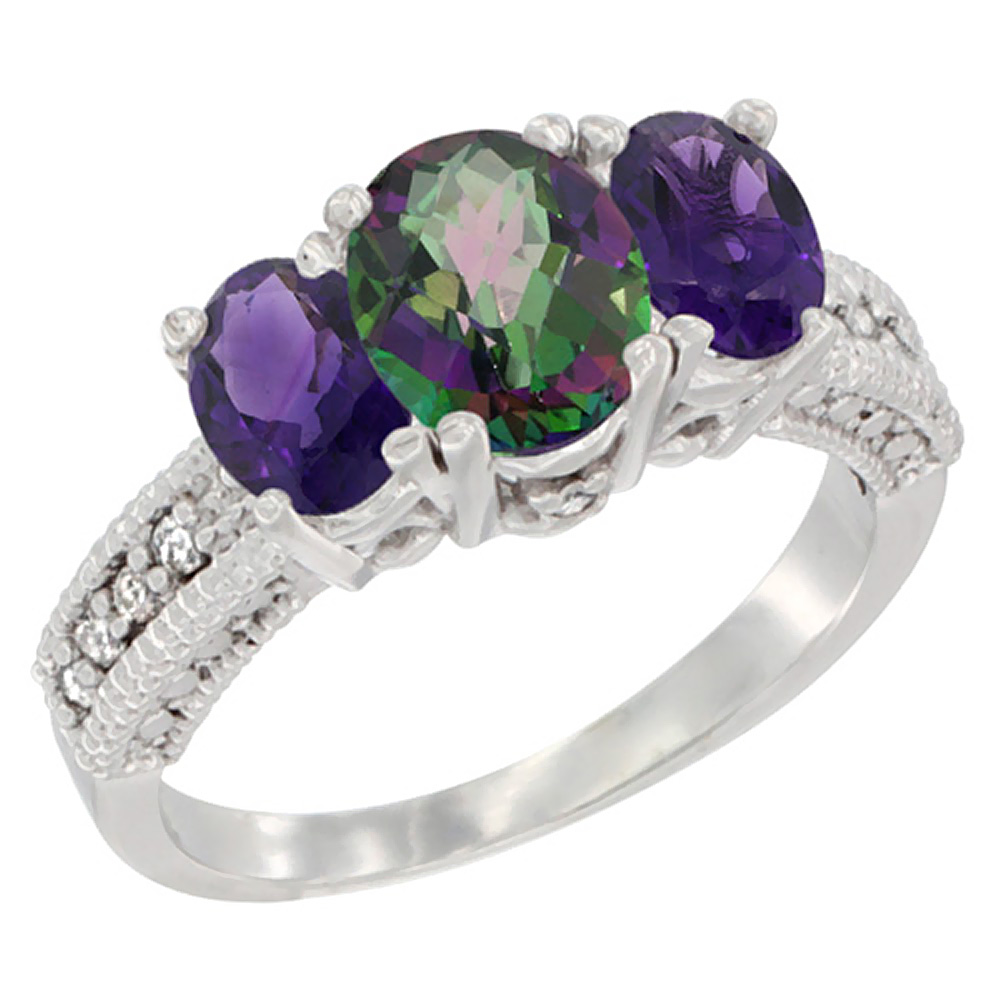 14K White Gold Diamond Natural Mystic Topaz Ring Oval 3-stone with Amethyst, sizes 5 - 10