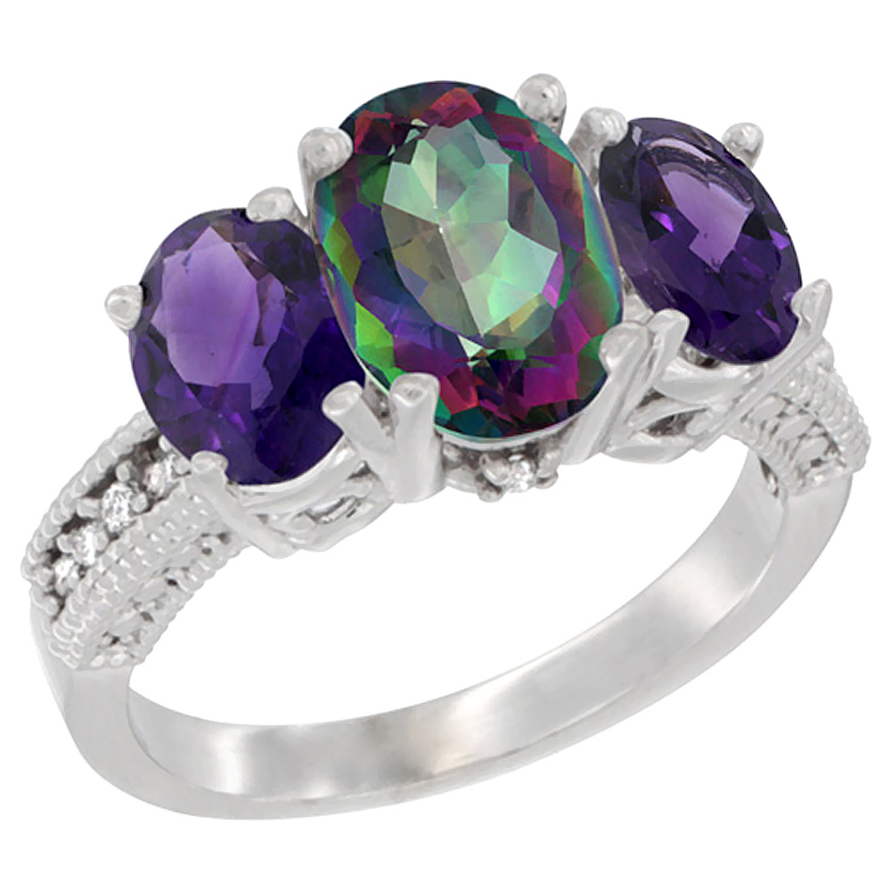 10K White Gold Natural Mystic Topaz Ring Ladies 3-Stone 8x6 Oval with Amethyst Sides Diamond Accent, sizes 5 - 10