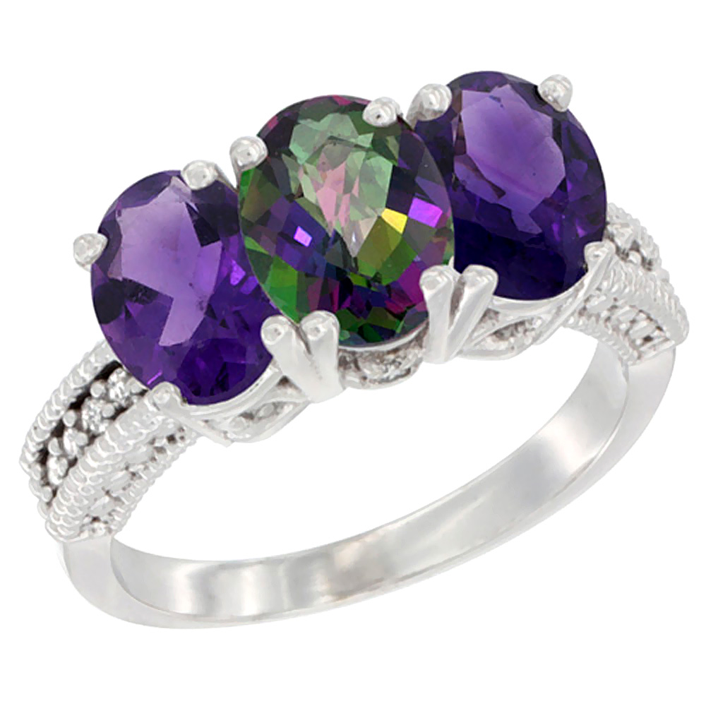 14K White Gold Natural Mystic Topaz & Amethyst Ring 3-Stone 7x5 mm Oval Diamond Accent, sizes 5 - 10