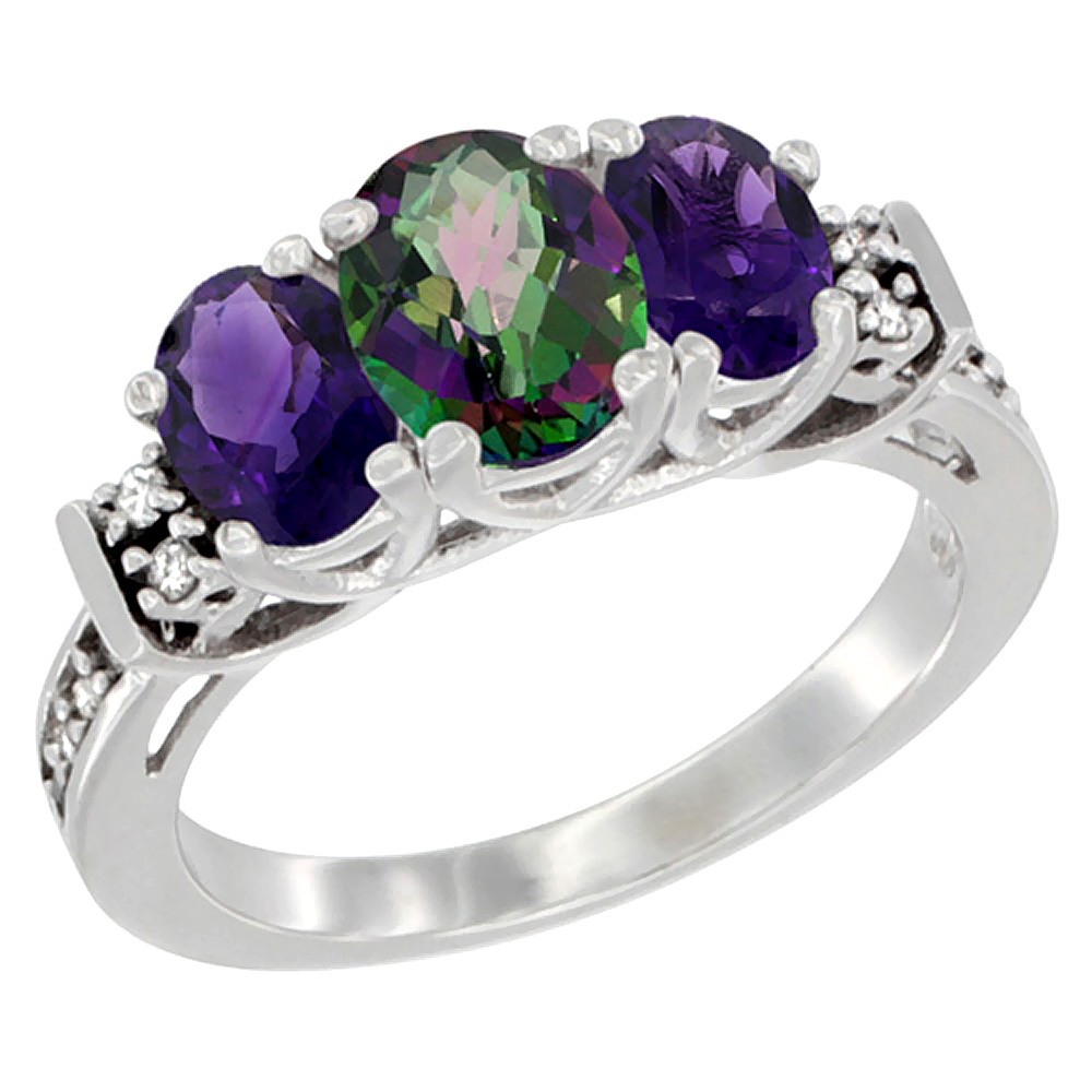 10K White Gold Natural Mystic Topaz & Amethyst Ring 3-Stone Oval Diamond Accent, sizes 5-10