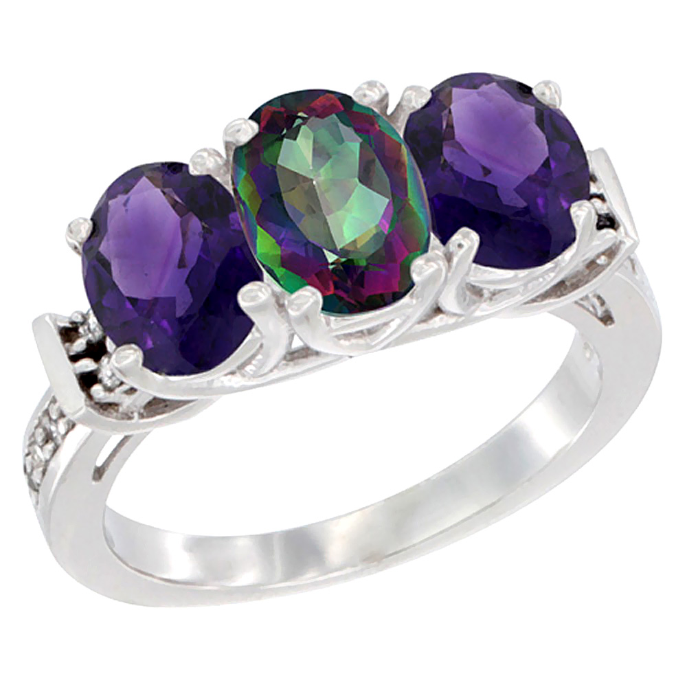 14K White Gold Natural Mystic Topaz & Amethyst Sides Ring 3-Stone Oval Diamond Accent, sizes 5 - 10
