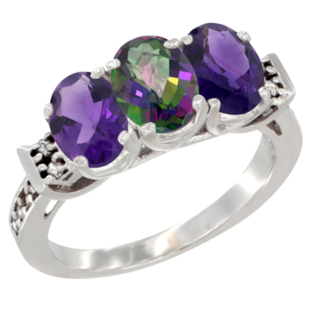 14K White Gold Natural Mystic Topaz & Amethyst Sides Ring 3-Stone 7x5 mm Oval Diamond Accent, sizes 5 - 10