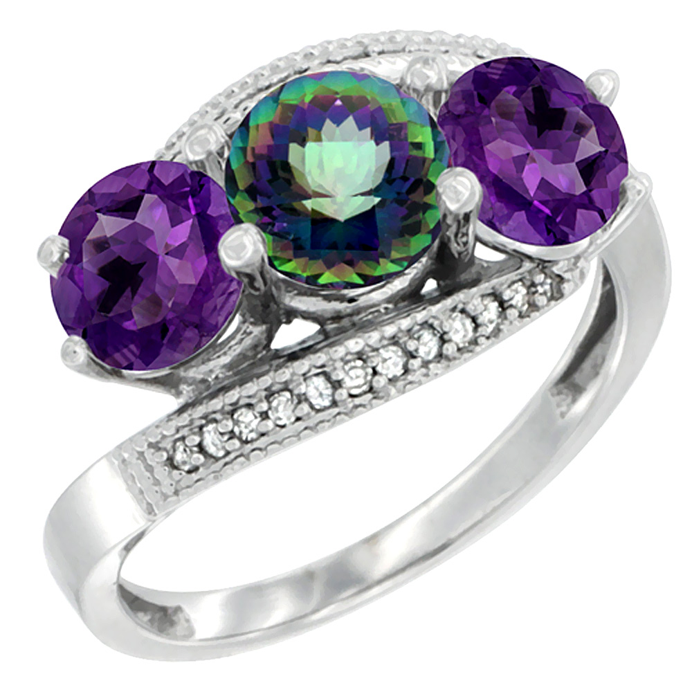 10K White Gold Natural Mystic Topaz & Amethyst Sides 3 stone Ring Round 6mm Diamond Accent, sizes 5 - 10