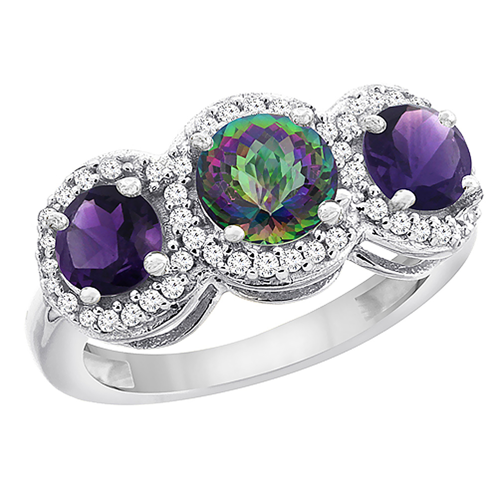 14K White Gold Natural Mystic Topaz & Amethyst Sides Round 3-stone Ring Diamond Accents, sizes 5 - 10