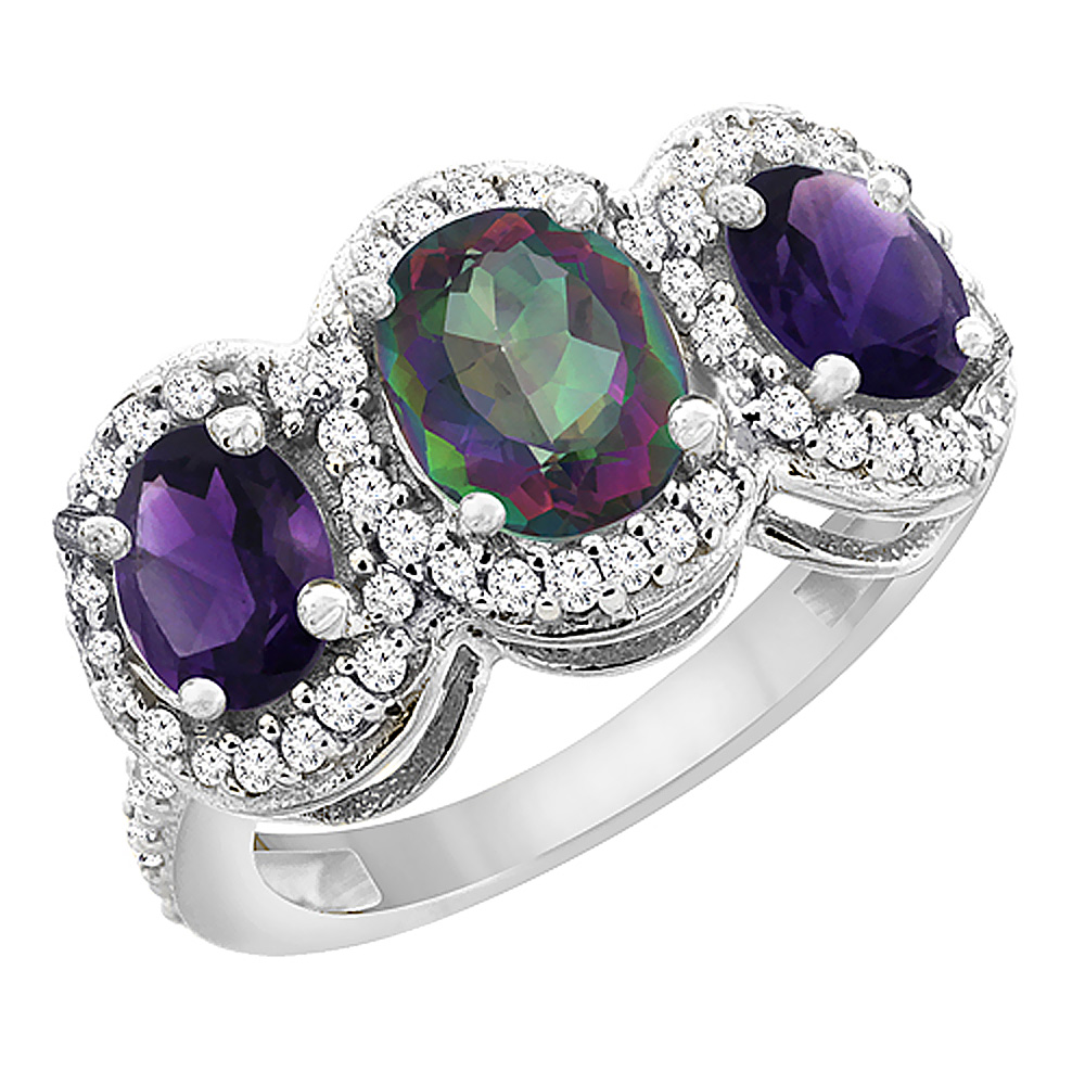 10K White Gold Natural Mystic Topaz & Amethyst 3-Stone Ring Oval Diamond Accent, sizes 5 - 10