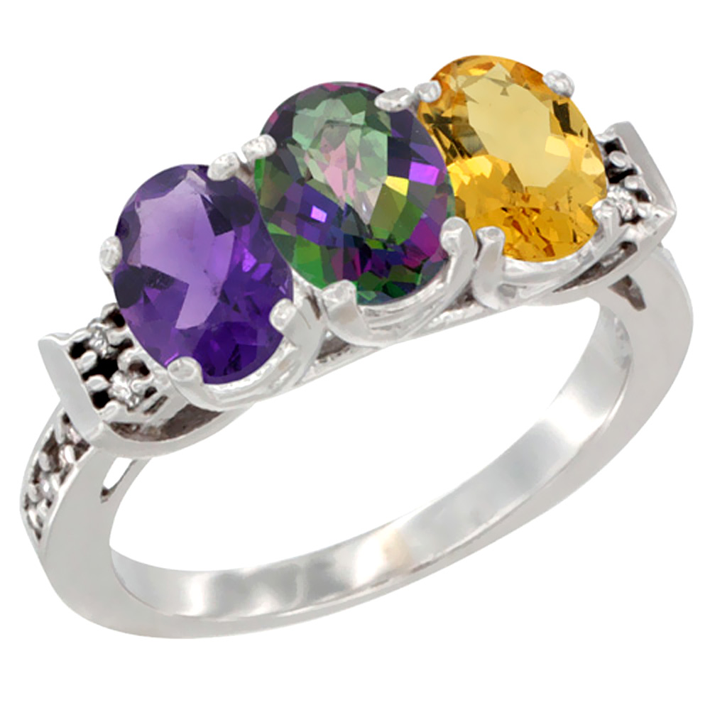 10K White Gold Natural Amethyst, Mystic Topaz & Citrine Ring 3-Stone Oval 7x5 mm Diamond Accent, sizes 5 - 10