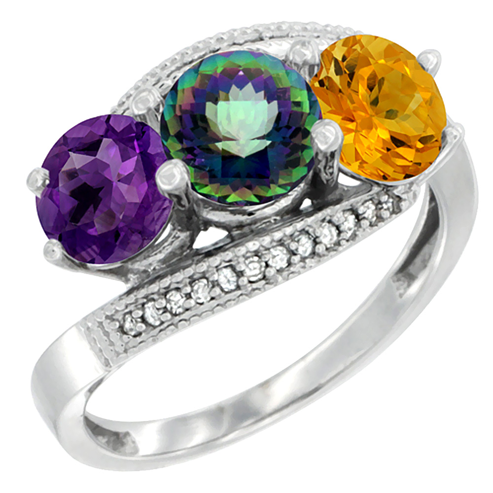 10K White Gold Natural Amethyst, Mystic Topaz & Citrine 3 stone Ring Round 6mm Diamond Accent, sizes 5 - 10