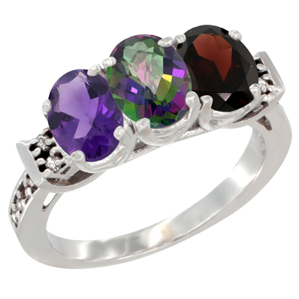 10K White Gold Natural Amethyst, Mystic Topaz & Garnet Ring 3-Stone Oval 7x5 mm Diamond Accent, sizes 5 - 10