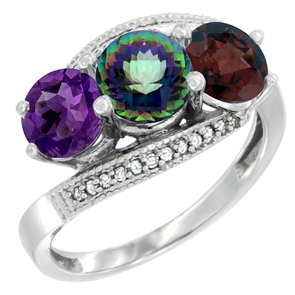 10K White Gold Natural Amethyst, Mystic Topaz & Garnet 3 stone Ring Round 6mm Diamond Accent, sizes 5 - 10