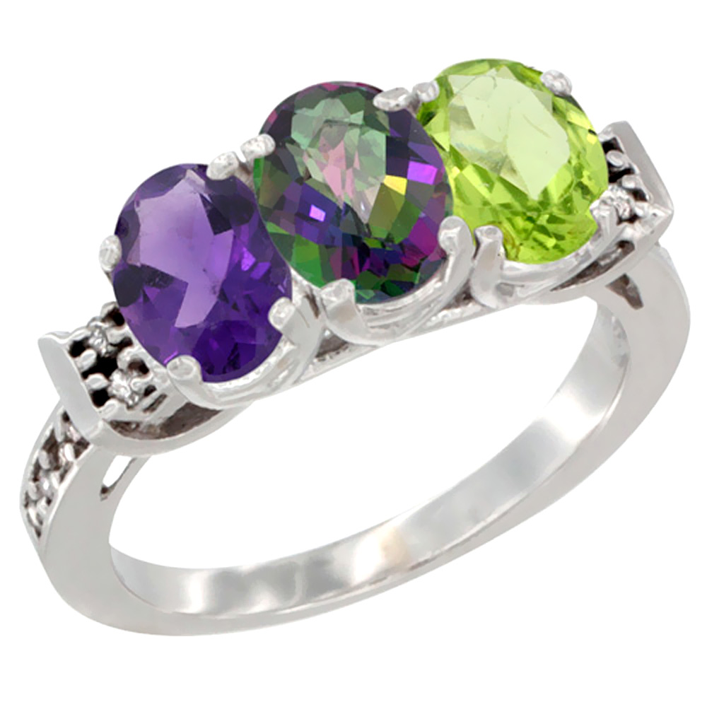 14K White Gold Natural Amethyst, Mystic Topaz & Peridot Ring 3-Stone 7x5 mm Oval Diamond Accent, sizes 5 - 10