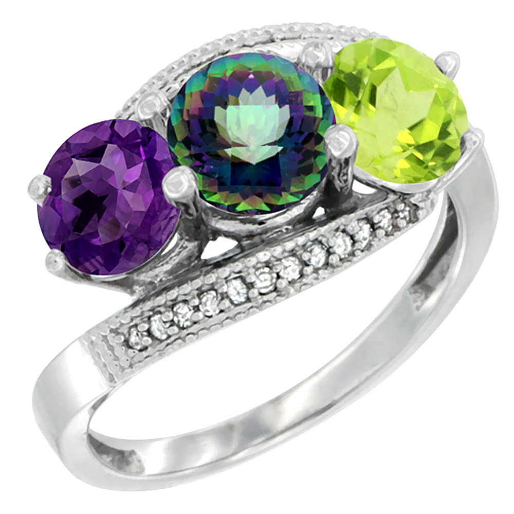 14K White Gold Natural Amethyst, Mystic Topaz & Peridot 3 stone Ring Round 6mm Diamond Accent, sizes 5 - 10